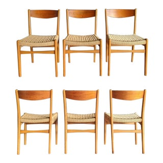 Danish Modern Cord Rope Chairs From Sweden, Set of 6 For Sale