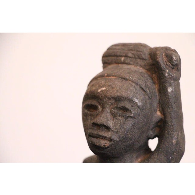 Late 19th Century African Tribal Art The Worker Statue Carved Stone Figurine For Sale - Image 5 of 6