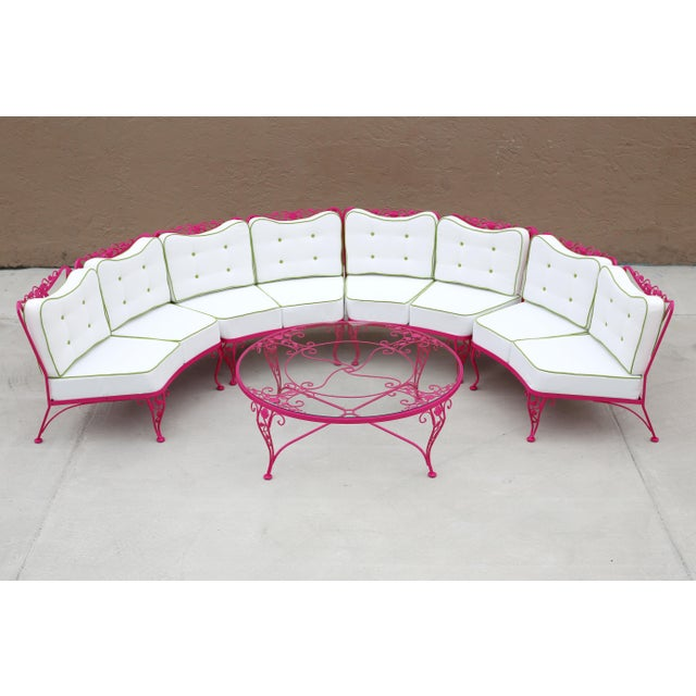 Woodard Chantilly Rose Professionally Restored 4-Piece Sectional and Cocktail Table For Sale - Image 13 of 13