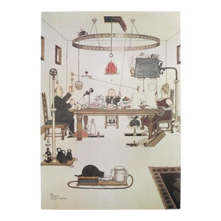 1974 Original British Illustration Poster, William Heath Robinson, How to Dispense With Servants in the Dining Hall For Sale