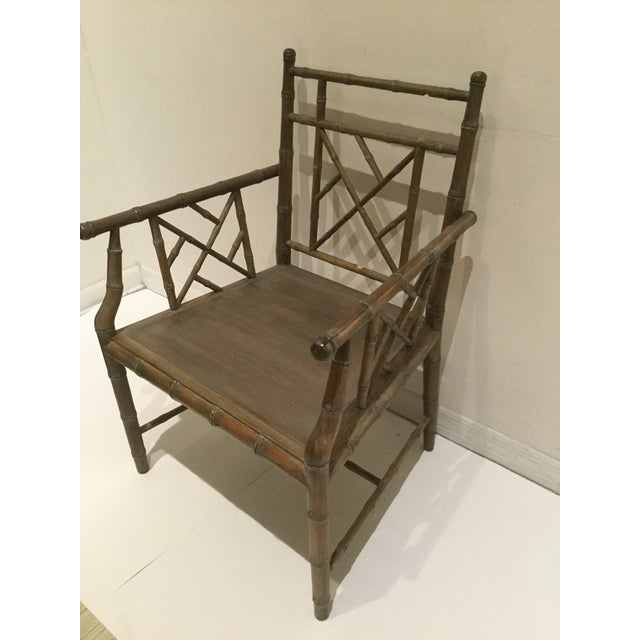Chippendale 1970s Vintage Faux Bamboo Chippendale Side Chair For Sale - Image 3 of 13