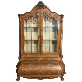 Dutch Walnut Display Cabinet or Vitrine of Bombe Form, 19th Century For Sale