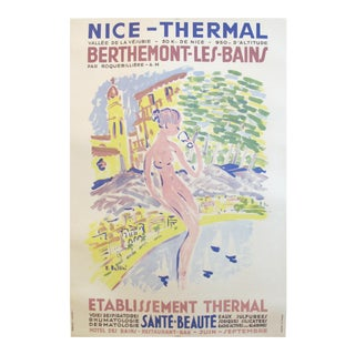 1950 French Vintage Travel Poster, Nice-Thermal Berthemont les Bains