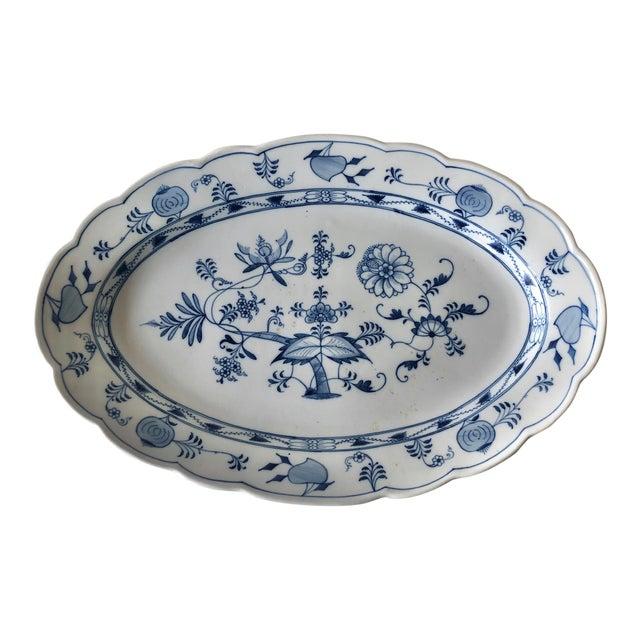 Antique Ernst Teichert Meissen Blue Onion Serving Platter For Sale