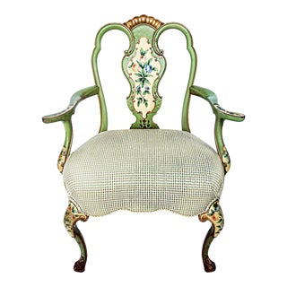 1920s Vintage Italian Venetian Hand Painted Fauteuil Arm Chair For Sale