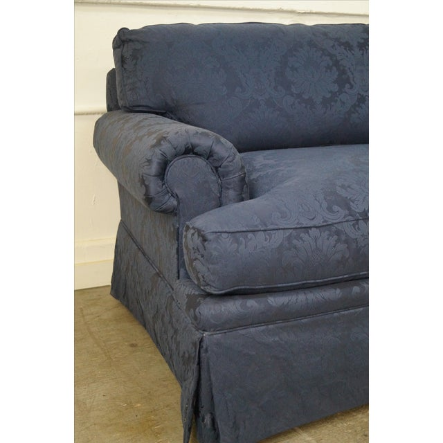 Blue Damask Traditional Upholstered Councill Sofa - Image 9 of 10