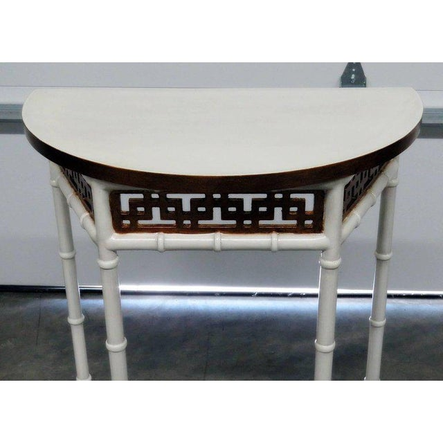 Asian Asian Modern Design Demilune Console Table For Sale - Image 3 of 9