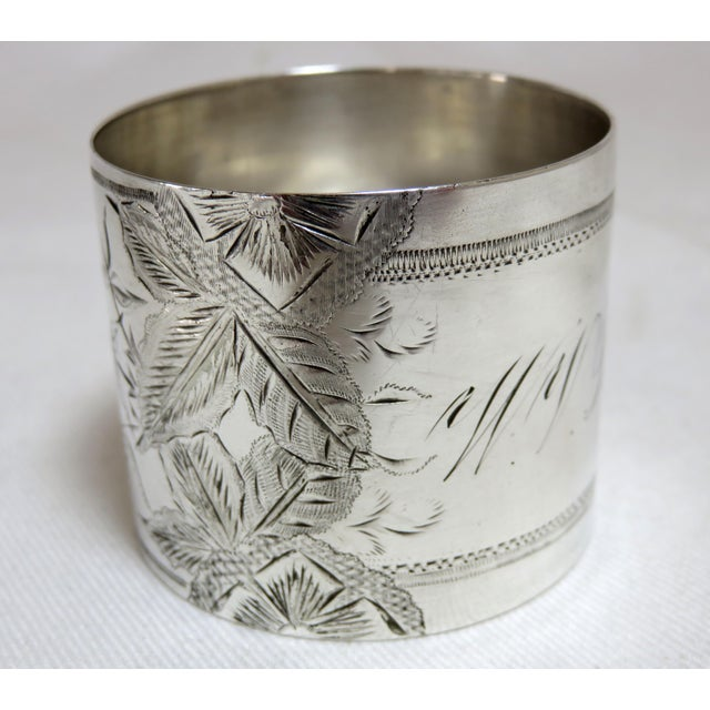 1800's Antique Sterling Silver Napkin Ring For Sale In Boston - Image 6 of 6