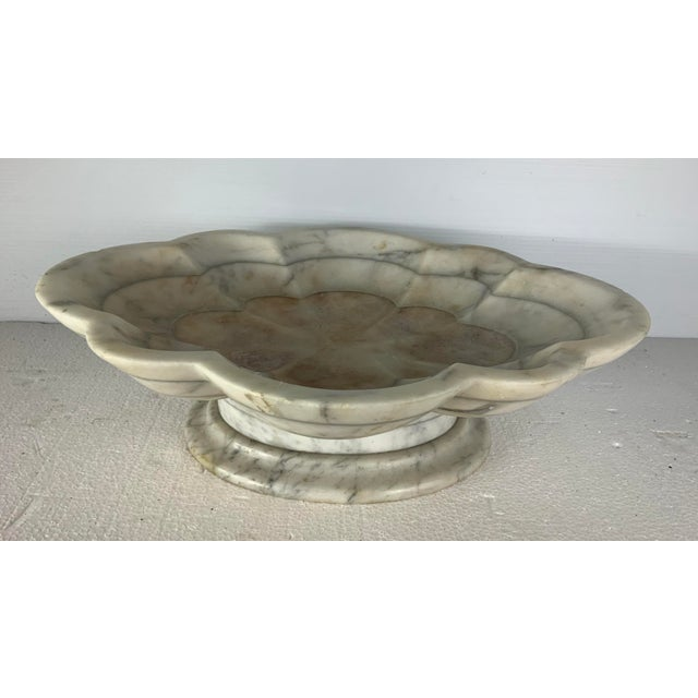 1930s Vintage Italian Carved Marble Tazza Centerpiece For Sale - Image 5 of 5