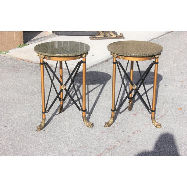 Metal 1920s French Neoclassical Bronze Side Tables - a Pair For Sale - Image 7 of 13