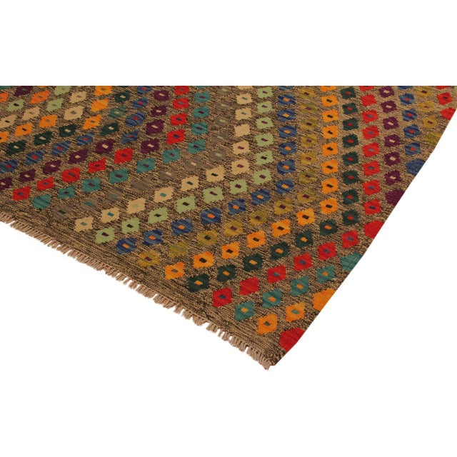 1990s Abstract Southwestern Tribal Manuel Gray/Blue Hand-Woven Kilim Wool Rug -5'0 X 6'8 For Sale - Image 5 of 8