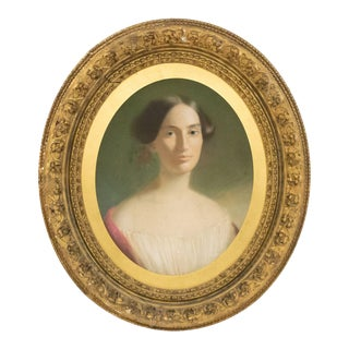 American Victorian Lady with Flowers Portrait For Sale