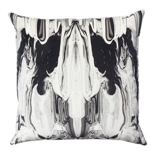 Velvet Marbled Ink Pillow For Sale