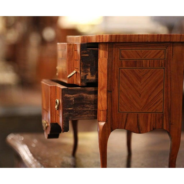 Wood Mid-20th Century French Louis XV Walnut Veneer Marquetry Inlay Miniature Commode For Sale - Image 7 of 10