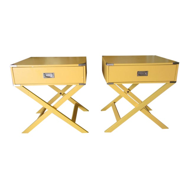 Campaign Yellow Side Tables - a Pair For Sale