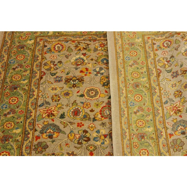 Shabby Chic Istanbul Crysta Lt. Gray/Lt. Green Turkish Hand-Knotted Rug -4'2 X 6'3 For Sale - Image 3 of 8
