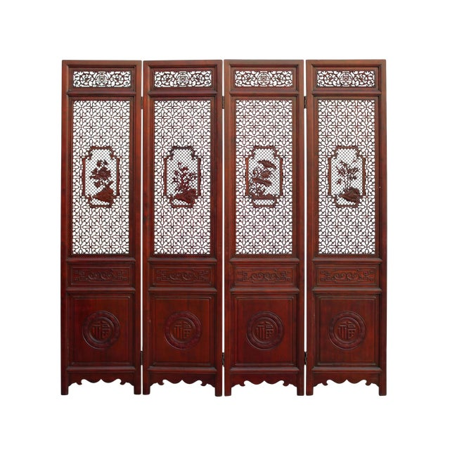 Chinese Reddish Brown Stain 4 Seasons Flower Wood Panel Floor Screen For Sale