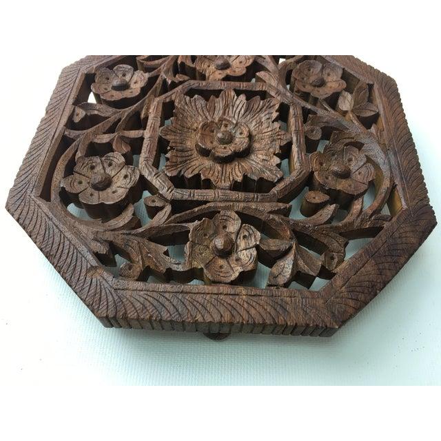 Vintage Hand-Carved Wood Trivet - Image 3 of 4