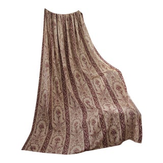 C 1860 French Drape Curtain Toile De Jouy Sienna Brown Textile For Sale