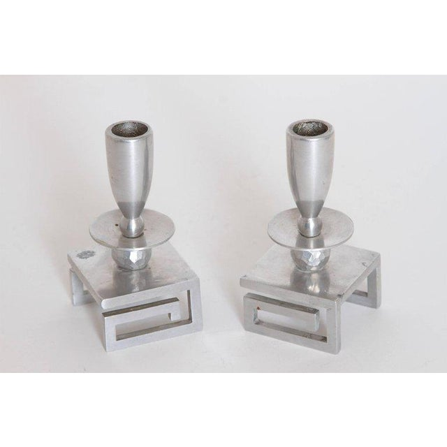 Pair of Machine Age Hand-Wrought Aluminum Palmer Smith Candlestick Holders For Sale In Dallas - Image 6 of 11