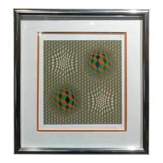Vintage Victor Vasarely Geometric Abstract Serigraph, Signed For Sale
