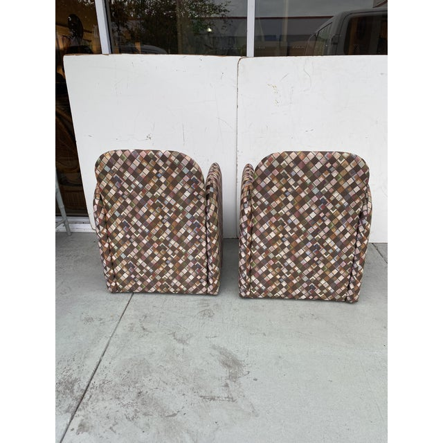 Black Pair of Vintage Lounge Chairs in Geometric Fabric. For Sale - Image 8 of 13