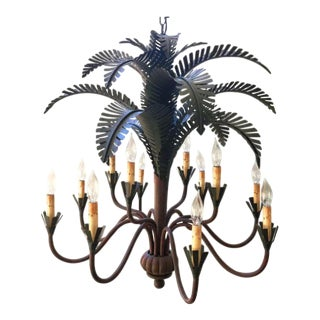 Currey & Co. Tole Palm Tree Chandelier