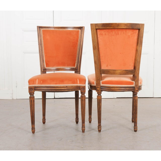 French 19th Century Louis XVI-Style Walnut Sidechairs-Set of 6 For Sale - Image 4 of 12