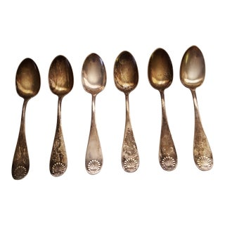 Vintage c.a.w. Crosby & Son Sterling Silver Shell Pattern Spoons - Set of 6 For Sale