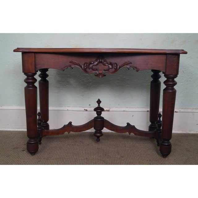 Store Item #: 14839 Antique 19th Century Solid Walnut Victorian Library Table AGE/COUNTRY OF ORIGIN: Approx 150 years,...