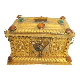 Antique Gilt and Bejeweled Alms Box For Sale