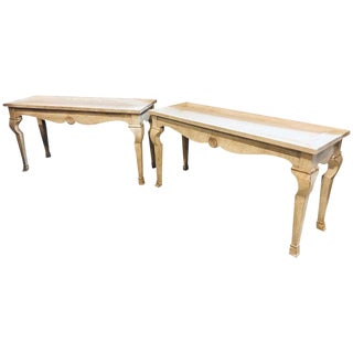 1970s Hollywood Regency Style Center Console Tables - a Pair For Sale