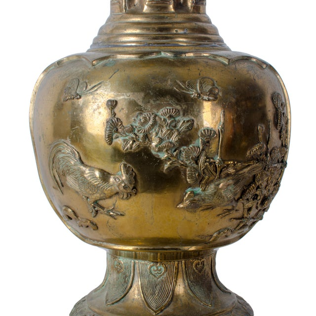 19th C Japanese Meiji Gilt Bronze Vase Chairish