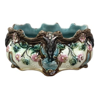 Small French Majolica Jardiniere Onnaing Circa 1890 For Sale
