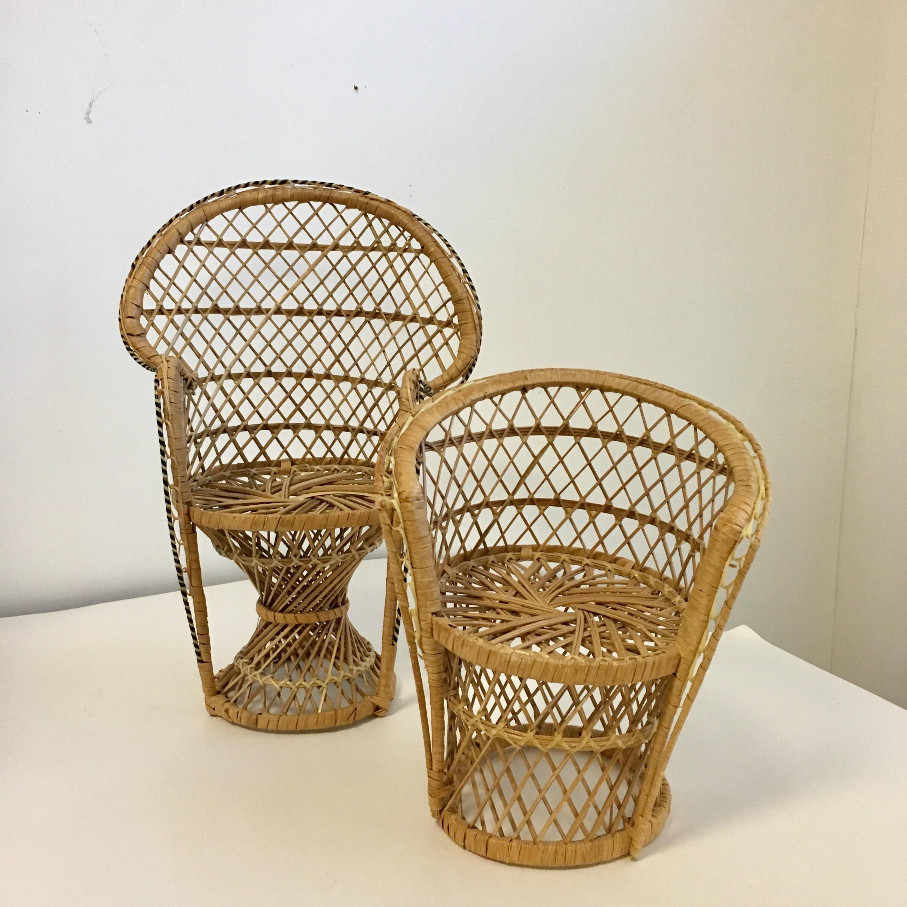 A Darling Pair Of Petite Vintage Wicker Chairs That Can Be Used As Plant  Stands.