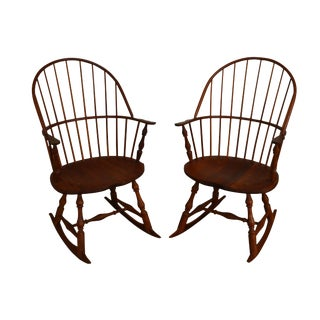 Martins Chair Shop Inc Bench Made Solid Cherry Sackback Pair of Windsor Rockers (B) For Sale