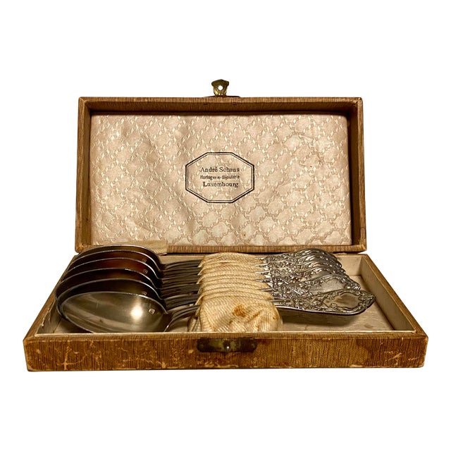 1890s Antique Societe Francaise d'Alliages Et De Metaux Spoon Set With Box - Set of 6 For Sale