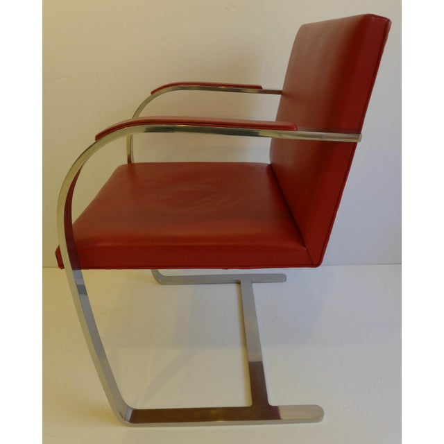 Silver Vintage Pair of Knoll Brno Chairs in Red Leather For Sale - Image 8 of 9