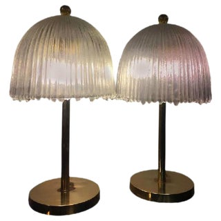 Elegant Pair of French Tulip Shade Table Lamps For Sale