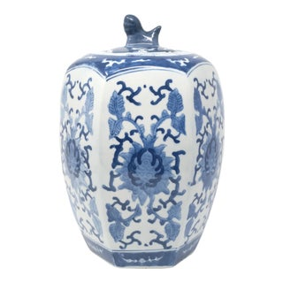 Blue and White Hexagonal Ginger Jar With Foo Lion Handle