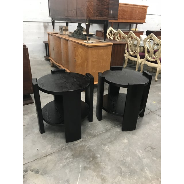 French Art Deco Solid Ebonized Cerused Oak Coffee Tables - A Pair - Image 6 of 11