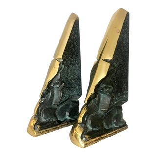 Pair Carved Antelope Brutalist Bookends For Sale