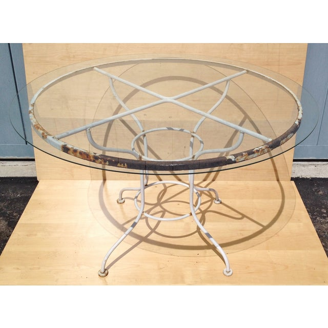 Vintage Metal Patio Dining Table with Glass Top - Image 2 of 4