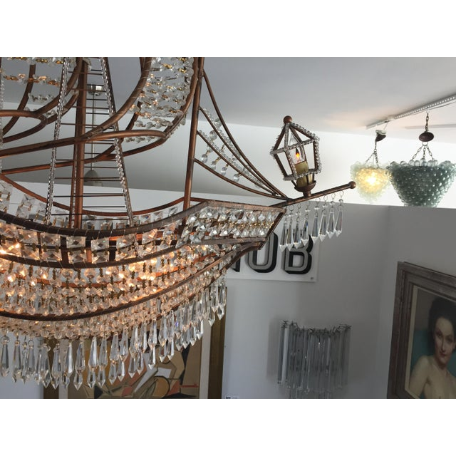 Crystal Spanish Galleon Ship Crystal Chandelier, Italy 1990s For Sale - Image 7 of 13