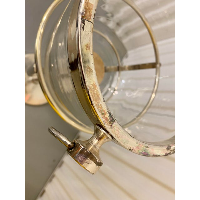 Mid Century Vintage Silver Plate & Glass Wine Bucket on Stand For Sale - Image 10 of 11