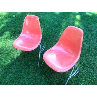 Orange Dss Herman Miller Eames Vintage Fiberglass Chairs - a Pair Preview