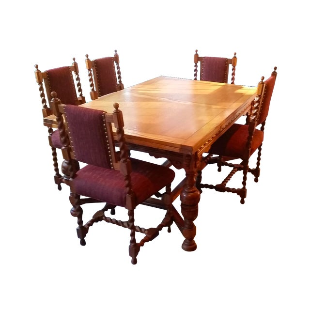 Antique Jacobean Revival Style Dining Set - Image 1 of 8