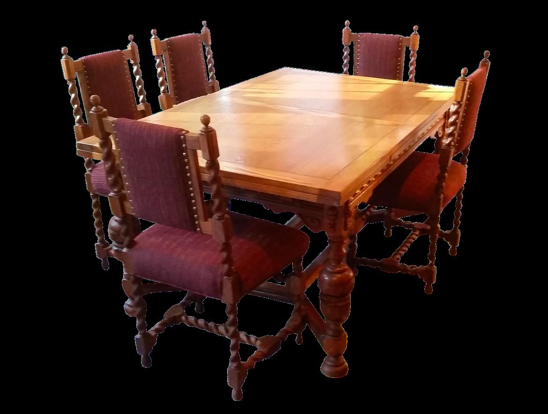 Antique Jacobean Revival Style Dining Set