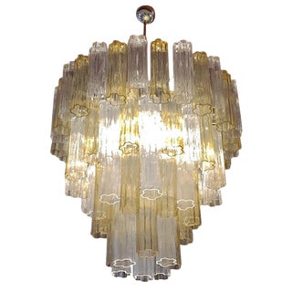 Italian Contemporary Amber & Crystal Clear Murano Glass Tronchi Star Chandelier For Sale
