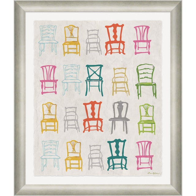 """Contemporary """"Painted Chairs in Multi"""" By Dana Gibson, Framed Art Print For Sale - Image 3 of 3"""